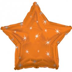 Шар Звезда, Искры, Оранжевый (в упаковке)