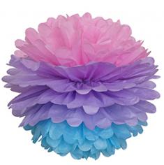 Бумажный помпон Розово-сиренево-голубой