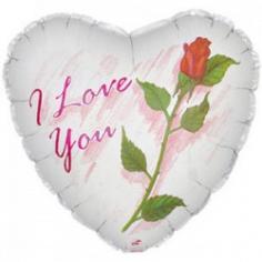 Шар Сердце, Я люблю тебя (роза), Белый