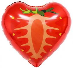 Шар, Сердце, Клубника, Красный