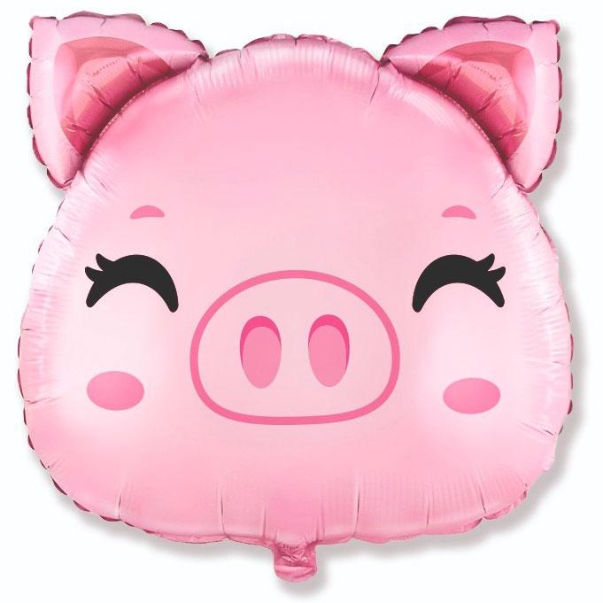 Шар Фигура Свинка голова (в упаковке)
