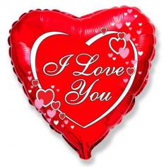 Шар Сердце, Я тебя люблю сердца рядом с надписью / Love hearts