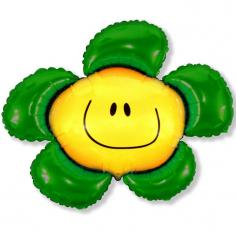 Шар Мини-фигура Цветочек (солнечная улыбка) зелёный / Flower, в упаковке