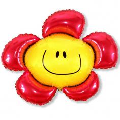 Шар Мини-фигура Цветочек (солнечная улыбка) красный / Flower (в упаковке)