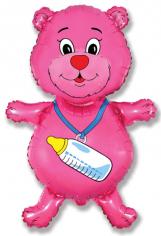 Шар фигура, Медвежонок девочка (фуксия) / Bear girl (в упаковке)