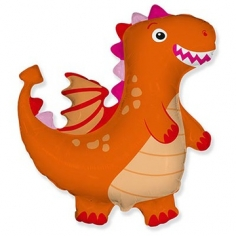 Шар Фигура, Динозаврик, Оранжевый (в упаковке)