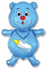 Шар фигура, Медвежонок мальчик (синий) / Bear boy (в упаковке)