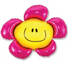 Шар Мини-фигура Цветочек (солнечная улыбка) фуксия / Flower (в упаковке)