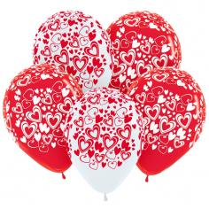 Шар Кокетливые сердечки, Ассорти (Белый - Красный), 5 ст