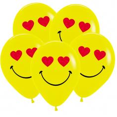 Шар Смайл влюбленный, Желтый, 2 ст 2 цв