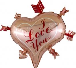 Шар Фигура Сердце, Стрелы Амура, Розовое Золото (в упаковке)