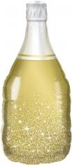 Шар Фигура, Бутылка Шампанское, Сверкающие искры, Золото (в упаковке)