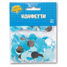 Конфетти Круги тишью, Фольга Голубые/Серебро