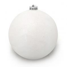 Новогодний шар Белый (с глиттером)