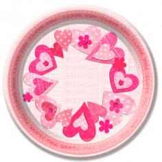 Тарелки бумажные ламинированные Сердечки I love you 6шт