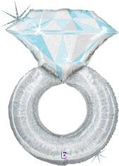 Шар Фигура,  Кольцо с бриллиантом, Серебро, Голография (в упаковке)