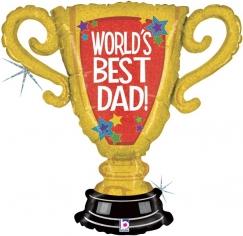 Шар Фигура, Кубок Чемпиона, Лучший Папа в мире, Золото, Голография (в упаковке)