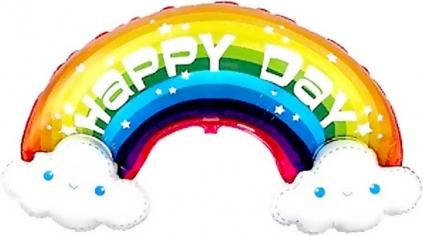 Шар Фигура Радуга в облаках, Happy Day (в упаковке)