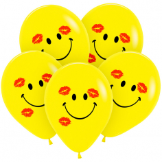 Шар Смайл с поцелуями, Жёлтый, 2 цв 2 ст