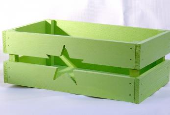 Декоративный ящик со звездой прямоугольный крашеный салатовый 250*155*90