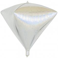 Шар 3D Алмаз, Серебро, Голография (в упаковке)