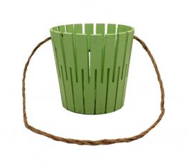 Корзина из натурального дерева с веревочной ручкой (салатовая)