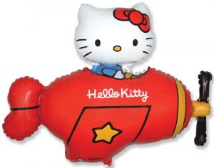Шар фигура, Хелло Китти в самолете / Hello Kitty Красный (в упаковке)
