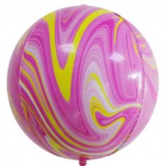 Шар Сфера 3D, Мрамор, Розовый/Желтый, Агат (в упаковке)