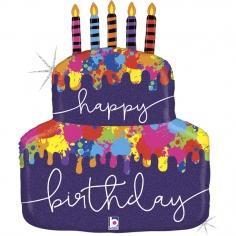 Шар Фигура, Дизайнерский торт со свечками, С Днем Рождения, Голография (в упаковке)