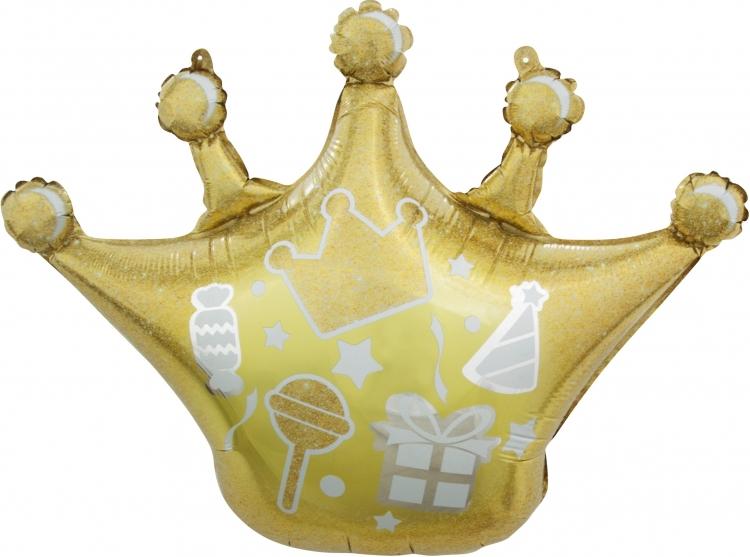 Шар Фигура, Корона, Сверкающие искры, Золото (в упаковке)