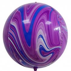 Шар Сфера 3D, Мрамор, Фиолетовый/Синий, Агат (в упаковке)