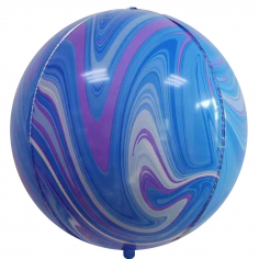 Шар Сфера 3D, Мрамор, Голубой/Сиреневый, Агат (в упаковке)