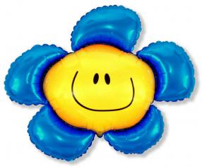 Шар Мини-фигура Цветочек (солнечная улыбка) синий / Flower (в упаковке)