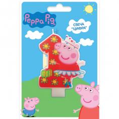 Свеча тортовая цифра 1, Свинка Пеппа
