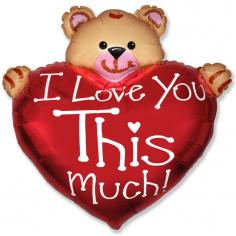 Шар Мини-фигура Мишка, Я тебя люблю / Bear Love (в упаковке)