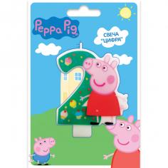 Свеча тортовая цифра 2, Свинка Пеппа
