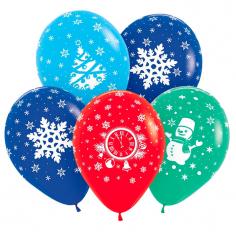 Шар Новый год Ассорти (снеговик, снежинка, куранты, елка), Ассорти, 5 ст
