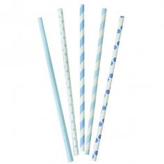 Трубочки бумажные Голубое, Ассорти