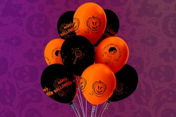 Шар Хэллоуин Сладость или гадость, Пастель, Оранжевый, Чёрный 4 ст