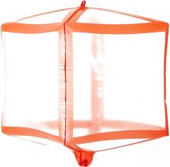 Шар 3D Куб Красные грани, Прозрачный (в упаковке)