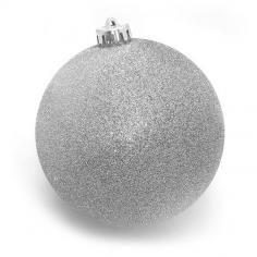 Новогодний шар Серебряный (с глиттером)