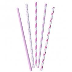 Трубочки бумажные Розовое, Ассорти