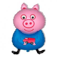 Шар Мини-фигура Поросенок с игрушкой, Синий (в упаковке)