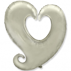 Шар фигура, Сердце витое, Серебро / Heart shape silver (в упаковке)