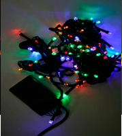 Светодиодная гирлянда с переключателем режимов / 200 Разноцветных светодиодов на зеленом проводе