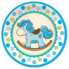 Тарелки бумажные ламинированные Лошадка Малыш голубая 6шт