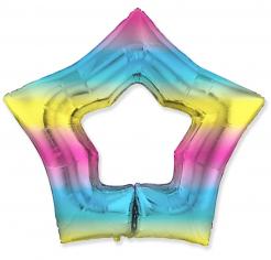 Шар Звезда-контур, Радуга нежный градиент / Rainbow gradient (в упаковке)