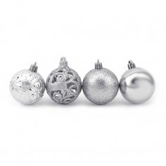 Новогодние шары Серебряные 6 см