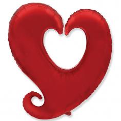 Шар фигура, Сердце витое, Красный / Heart shape Y red