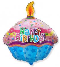 Шар фигура, Кекс С Днем Рождения / Cake Happy Birthday (в упаковке)